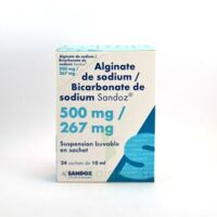 ALGINATE DE SODIUM/BICARBONATE DE SODIUM SANDOZ 500 mg/267 mg, suspension buvable en sachet