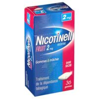 NICOTINELL FRUIT 2 mg SANS SUCRE, gomme à mâcher médicamenteuse Plaq/36gom